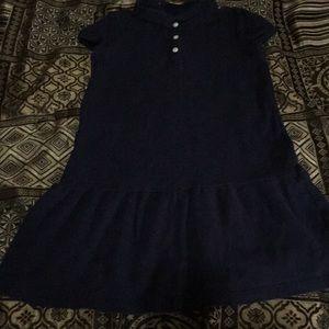 Uniform Polo Dress blue drop waist ruffle hem